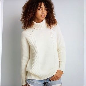 American Eagle Cream Cable Knit Turtleneck Sweater
